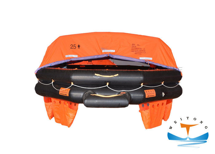 Throw Overboard 25 Man Life Raft , Inflatable Life Saving Raft LSA Standard